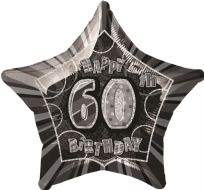 "Glitz 20"" Star Balloon Black & Silver - Age 60"